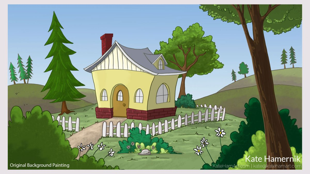 cottage house background painting